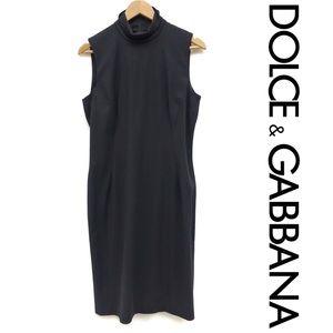 Dolce & Gabbana Stretch Mock Neck Sheath Dress